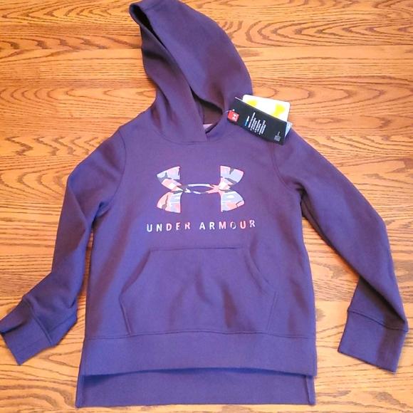 under armour girl youth hoodie fleece sweatshirt purple new M coldgear